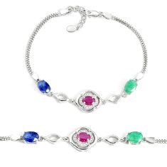 10.33cts natural red ruby sapphire emerald 925 sterling silver bracelet a96881