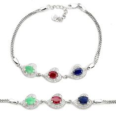 7.83cts natural red ruby sapphire emerald 925 sterling silver bracelet a96883