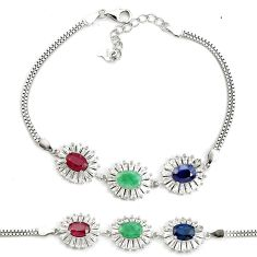 15.11cts natural red ruby sapphire emerald 925 sterling silver bracelet a96884