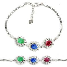 13.04cts natural red ruby sapphire emerald 925 sterling silver bracelet a96886