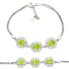 13.90cts natural green peridot topaz 925 sterling silver bracelet jewelry a96889