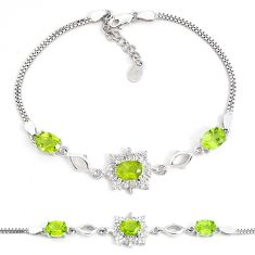 925 sterling silver 8.70cts natural green peridot topaz bracelet jewelry a96890