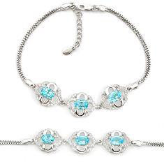 10.00cts natural blue topaz topaz 925 sterling silver bracelet jewelry a96895