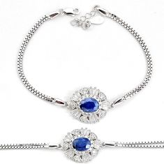 6.57cts natural blue sapphire topaz 925 sterling silver bracelet jewelry a96908