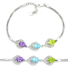 925 sterling silver 9.38cts natural blue topaz amethyst peridot bracelet a96909