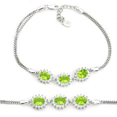 8.70cts natural green peridot topaz 925 sterling silver bracelet jewelry a96911