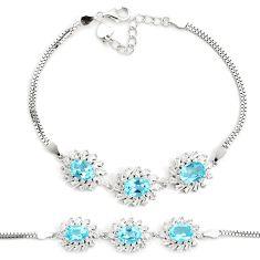 14.77cts natural blue topaz topaz 925 sterling silver bracelet jewelry a96914