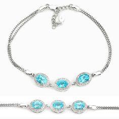 8.42cts natural blue topaz topaz 925 sterling silver bracelet jewelry a96916