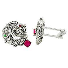 1.37cts red ruby quartz emerald quartz 925 silver cufflinks mens jewelry a82184