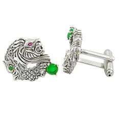 1.35cts green emerald quartz 925 sterling silver cufflinks jewelry a82188