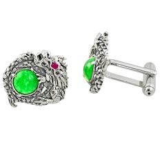 4.87cts green emerald quartz ruby quartz 925 silver cufflinks a82191