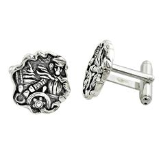 12.89gms indonesian bali style solid 925 sterling silver cufflinks a82194