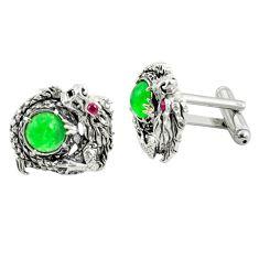 5.68cts dragon green chalcedony ruby quartz 925 silver stud cufflinks a82219