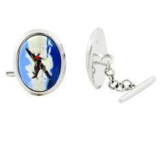 14.54cts plane cameo 925 sterling silver dangle cufflinks jewelry a82222