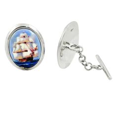 15.38cts ship cameo 925 sterling silver dangle cufflinks jewelry a82229