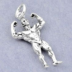 4.59gms bodybuilder newborn charm 925 sterling silver children pendant a82558