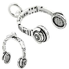 Music baby headphone jewelry charm sterling silver children pendant a82579