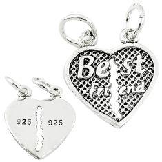 2.48gms best friend heart split charm sterling silver children pendant a82655