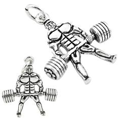 4.45gms muscle baby charm solid 925 sterling silver children pendant a82664