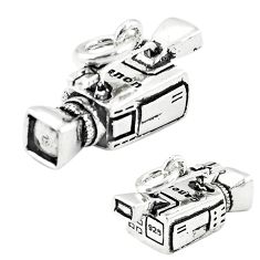 5.86gms camcorder charm baby jewelry 925 sterling silver children pendant a82670