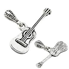 2.24gms music guitar baby charm jewelry sterling silver children pendant a82673