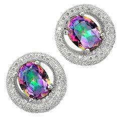 Multi color rainbow topaz white topaz 925 sterling silver stud earrings a25649