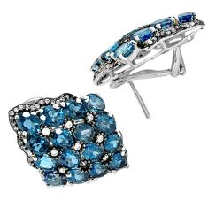 Natural london blue topaz 925 sterling silver stud earrings jewelry a30435