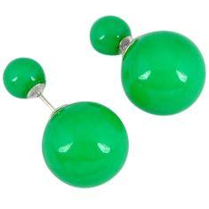 Double back green pearl 925 sterling silver earrings jewelry a30461