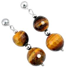 26.96cts natural brown tiger's eye beads sterling silver dangle earrings a30484