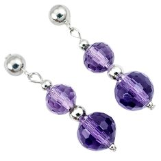 13.94cts natural purple amethyst beads sterling silver dangle earrings a30491