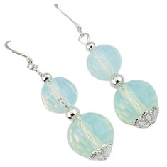 23.70cts natural white opalite beads sterling silver dangle earrings a30494
