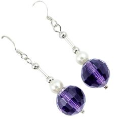 14.73cts natural purple amethyst pearl beads silver dangle earrings a30495