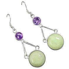 Natural lemon chrysoprase amethyst 925 silver dangle earrings jewelry a30641