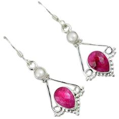 Red faux ruby white pearl 925 sterling silver dangle earrings jewelry a30646