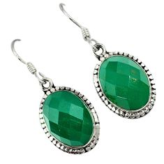 Natural green chalcedony 925 sterling silver dangle earrings jewelry a30707