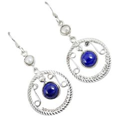 Natural blue lapis white pearl 925 sterling silver dangle earrings a30713