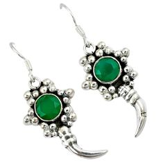 Natural green chalcedony 925 sterling silver dangle earrings jewelry a30716