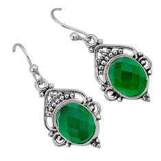 Natural green chalcedony 925 sterling silver dangle earrings jewelry a30730