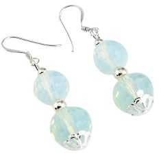 Natural white opalite 925 sterling silver dangle earrings jewelry a32388