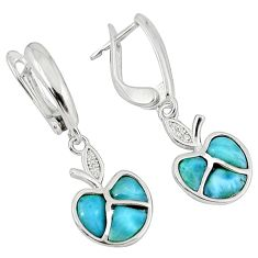 Natural blue larimar topaz 925 sterling silver dangle apple earrings a32981