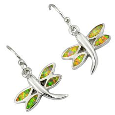 Pink australian opal (lab) 925 silver dragonfly earrings jewelry a36707