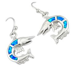 925 sterling silver blue australian opal (lab) fish earrings jewelry a36722