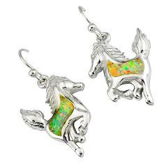 925 sterling silver pink australian opal (lab) horse earrings jewelry a36735