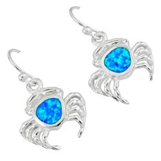 925 sterling silver blue australian opal (lab) crab earrings jewelry a36763