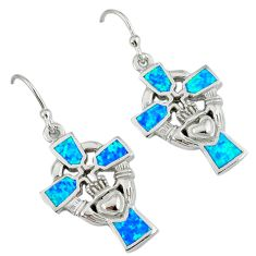 Blue australian opal (lab) 925 silver holy cross claddagh earrings a36845