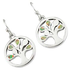 Pink australian opal (lab) 925 sterling silver tree of life earrings a36859