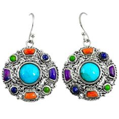 925 silver southwestern blue arizona turquoise lapis dangle earrings a37370