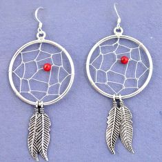 Red coral 925 sterling silver dreamcatcher earrings jewelry a37401