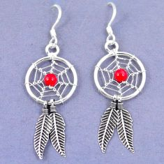925 sterling silver red coral dreamcatcher earrings jewelry a42888