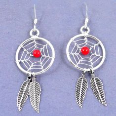 Red coral 925 sterling silver dreamcatcher earrings jewelry a42890